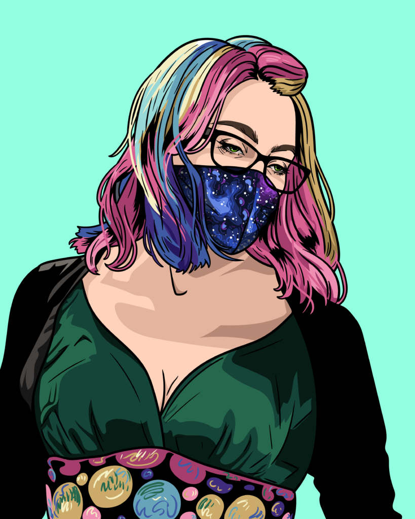 Image of the author wearing a mask