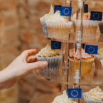 Delicious cupcakes topped with tiny EU flags